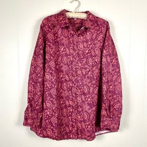 Woman Within Pink Paisley Button Down